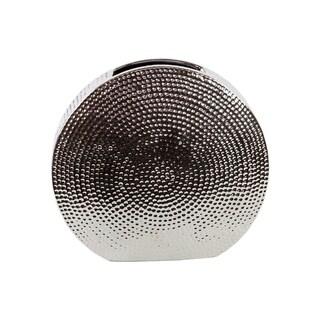 UTC21204: Ceramic Round Vase Dimpled Polished Chrome Finish Silver