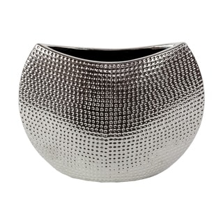 Silvertone Hammered Finish Decorative Ceramic Vase