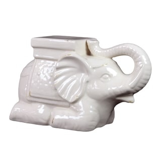 Antique White Ceramic Elephant