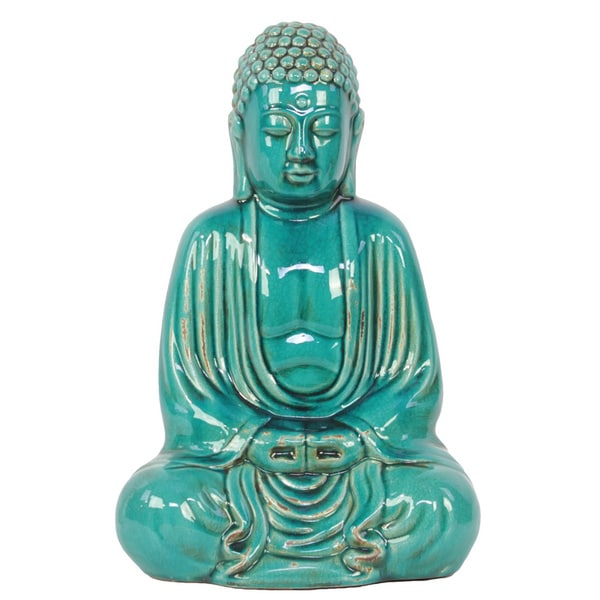 Turquoise ceramic sitting buddha statue free shipping for Overstock free returns
