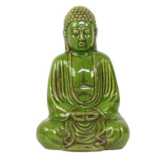 Green Ceramic Sitting Buddha