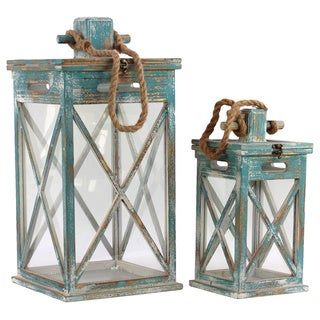 Distressed Blue Finish Hanging Wooden Lantern (Set of 2)