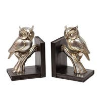 UTC30404: Resin Owl on a Branch on Base Bookend Set of Two Coated Finish Gold