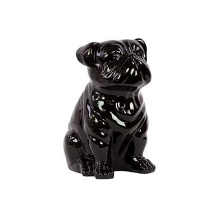 Black Glazed Ceramic Sitting Dog Figure