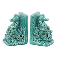 UTC40045: Ceramic Sea Horse on Corals Bookend on Base Set of Two Gloss Finish Turquoise