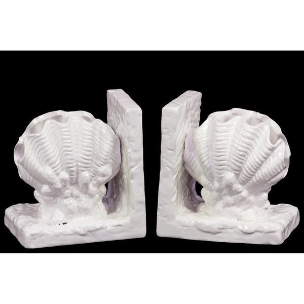 UTC40048: Ceramic Giant Clam Seashell Bookend on Base Gloss Finish White