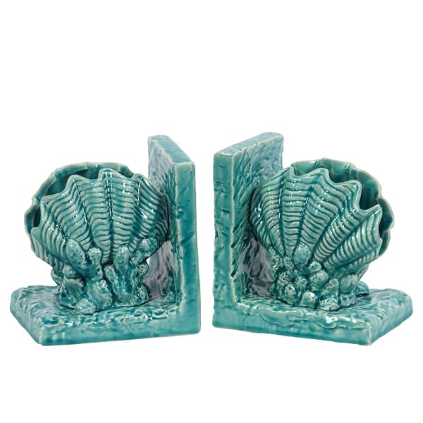 UTC40049: Ceramic Giant Clam Seashell Bookend on Base Gloss Finish Turquoise