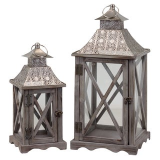 Wooden/Metal Lantern (Set of Two)