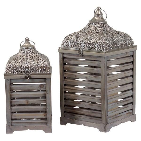 Wooden/Metal Lantern (Set of Two)