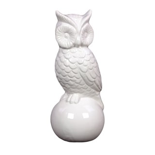 White Antique Finish Ceramic Owl