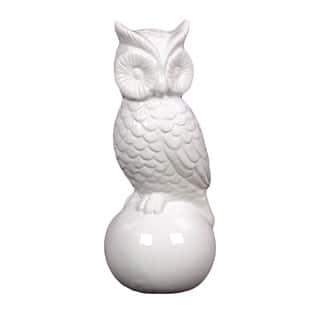 White Antique Finish Ceramic Owl