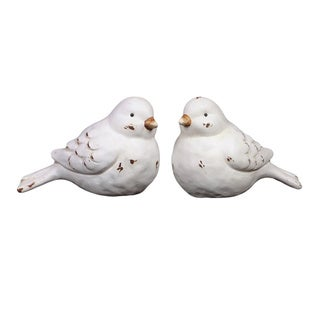 White Antique Finish Ceramic Bird (Set of 2)