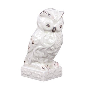 White Ceramic Decorative Owl Figurine Free Shipping On