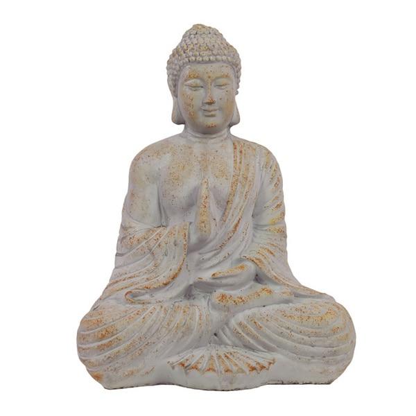 Antique White Cement 16-inch Sitting Buddha Statue