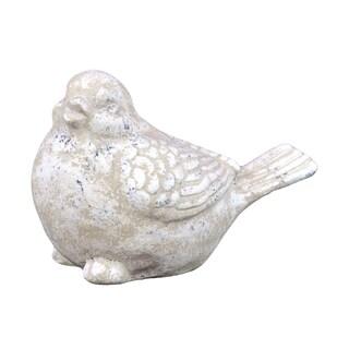 Ceramic White Speckle Finished Bird Figure