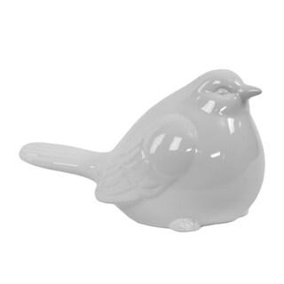 White Glazed Ceramic Bird Figure