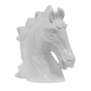 Matte White Ceramic Horse Head Figure