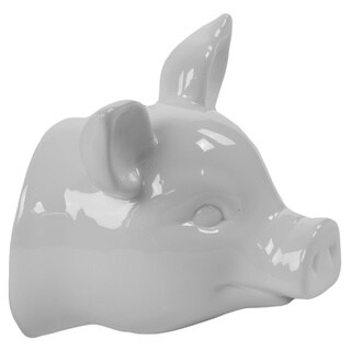 Ceramic Gloss White Finish Pig Head Wall Decor