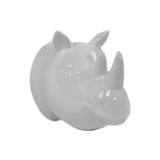 White Ceramic Rhinoceros Head Wall Decor