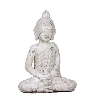 White Stone Ware Sitting Buddha