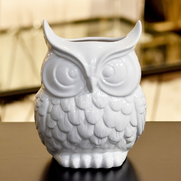 Utc70380 Ceramic Owl Figurine Vase Lg Gloss Finish White