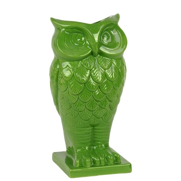 Green Ceramic Owl Vase