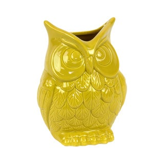 Yellow Ceramic Owl