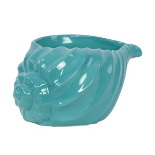 Urban Trends Blue Ceramic Large Decorative Shell