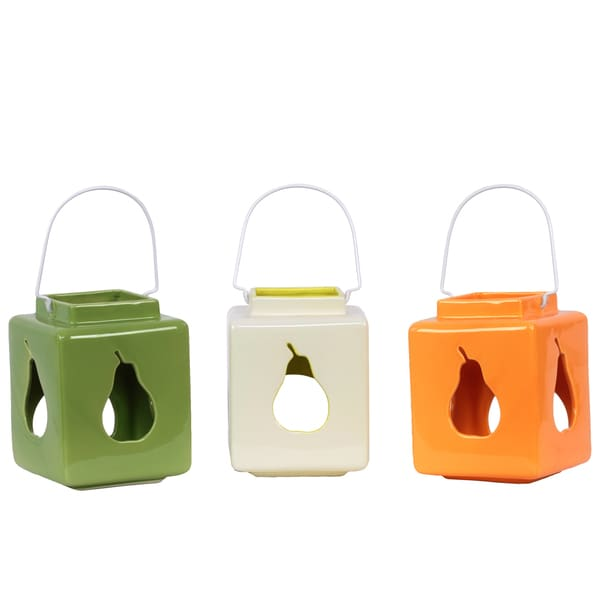 Square Ceramic Lanterns with Pear Cutout (Set of 3)