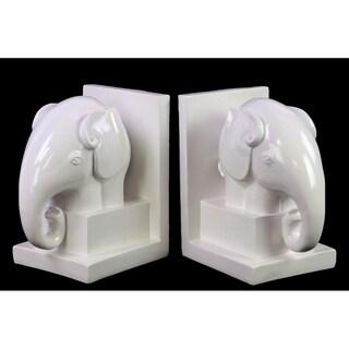 White Ceramic Elephant Bookends (Set of 2)