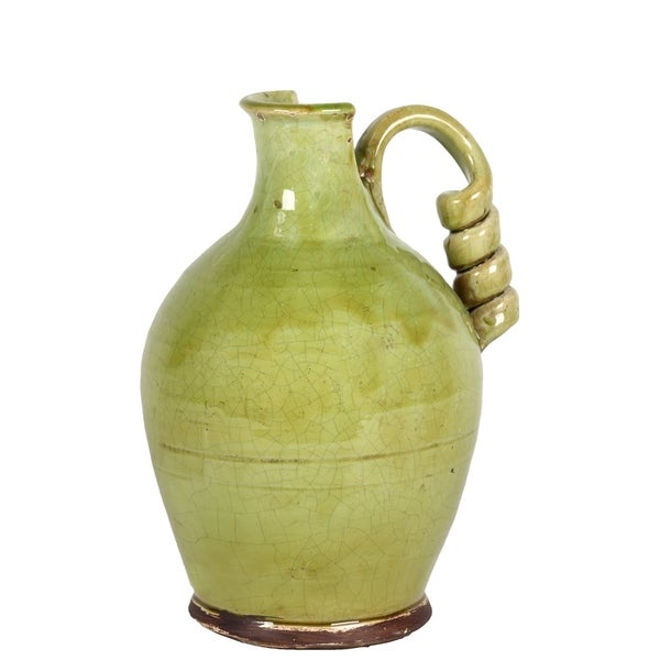 UTC76039: Ceramic Round Bellied Tuscan Vase with Coiled Handle Craquelure Distressed Gloss Finish Yellow Green