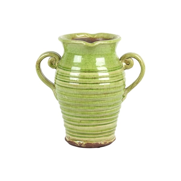 UTC76043: Ceramic Rpind Bellied Tuscan Vase with 2 Curved Handles and Indented Lip Ribbed Distressed Gloss Finish Yellow Green