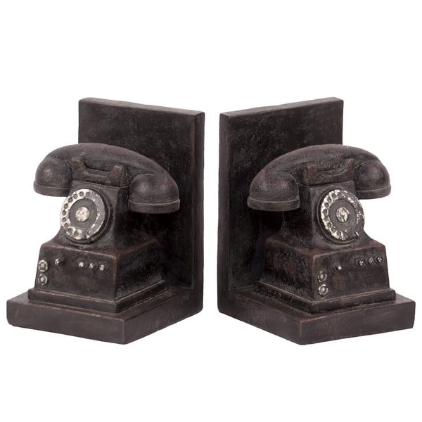 Resin Phone Bookends Set Of 2 Free Shipping Today 36 Inch High White Bookcase