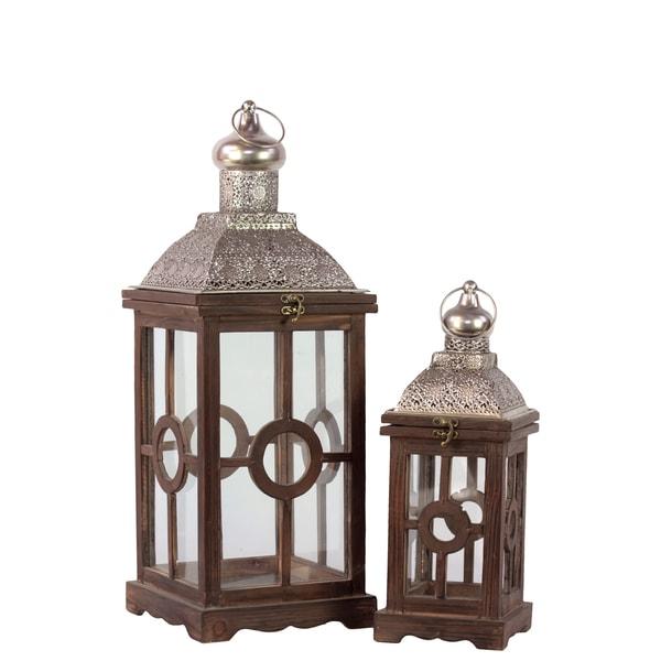 Antiqued brown wooden lanterns set of 2 free shipping for Wooden garden lanterns