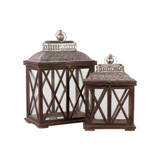 Brown Antiqued Wooden Lanterns (Set of 2)