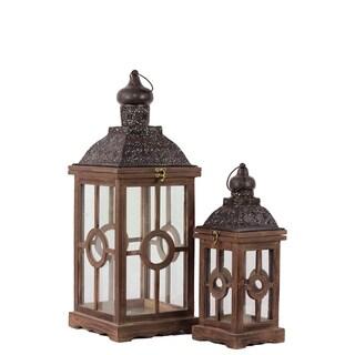 Rustic Antique Finish  Wooden Lantern (Set of 2)