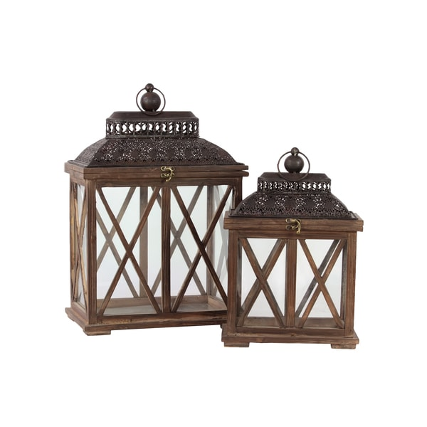 Rustic Antique Finish Wooden Lantern Set Of Two Free
