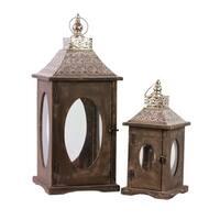 Brown Wooden Oval Window Lanterns (Set of 2)