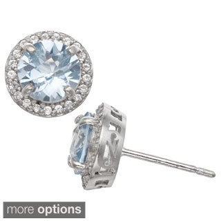 Gioelli Sterling Silver Gemstone and Created Sapphire Accent Stud Earrings