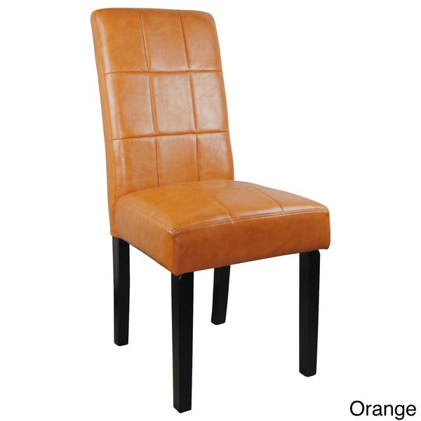 Tufted Leather Wingback Chair Faux Leather Parson Chairs (Set of 2) - Free Shipping Today ...