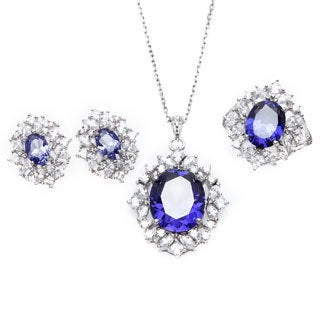 Sterling Essentials Silver Purple Cubic Zirconia Vintage Style Necklace, Earrings, and Ring Set