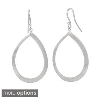 Gioelli Sterling Silver Satin Finish Teardrop Dangle Earrings