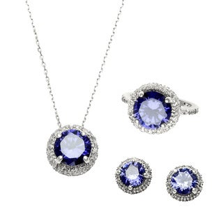 Sterling Essentials Silver Round Purple Cubic Zirconia Necklace, Earrings and Ring Set