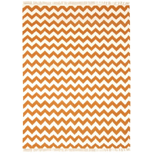 Hand Woven Flat Weave Orange Electro Wool Rug (9' x 12') - 9' x 12'