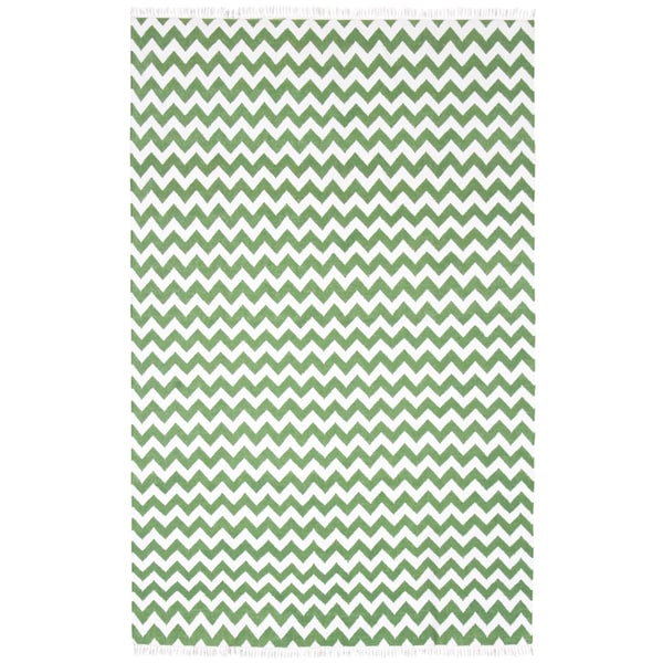 Hand Woven Flat Weave Green Electro Wool Rug - 9' x 12'
