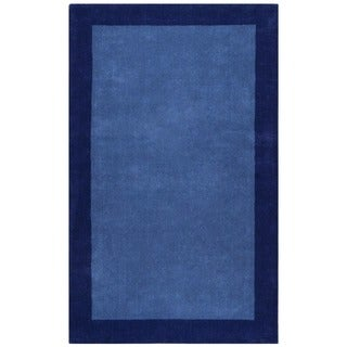 Blue Border Pulse Hand Tufted Wool 8x10' Rug