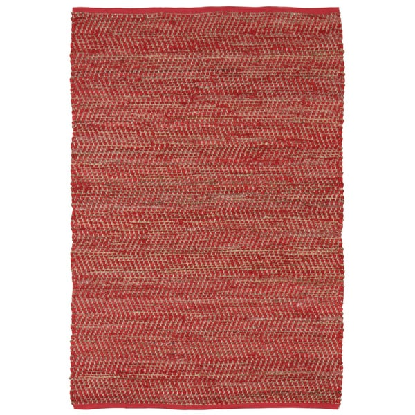Red Jeans Hand Woven Denim and Hemp 5' x 8' Rug - 5' x 8'