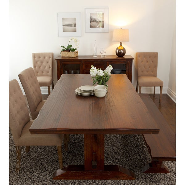 Armanda Rustic Brown Wood 78 Inch Trestle Dining Table By