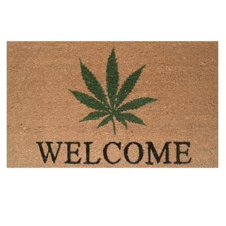 "Cannabis Welcome-Coir with Vinyl Backing Doormat (17"" x 29"")"