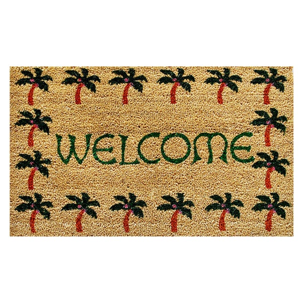 "Palm Tree Border Welcome-Coir with Vinyl Backing Doormat (17"" x 29"")"